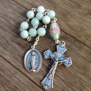 Miraculous Medal Pocket Rosary with turquoise Amazonite beads