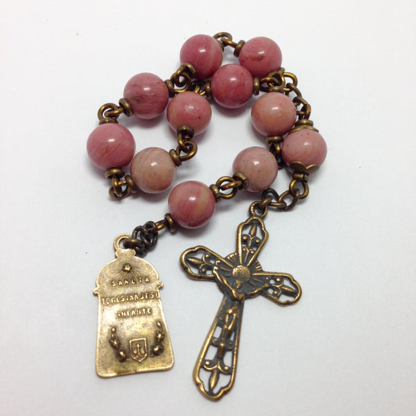 Bronze St. Therese pocket rosary