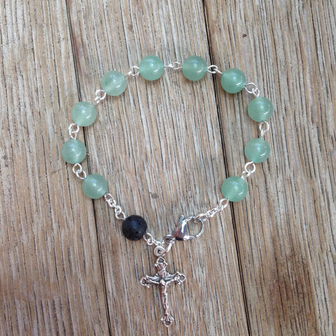 Aromatherapy Rosary bracelet with green aventurine beads