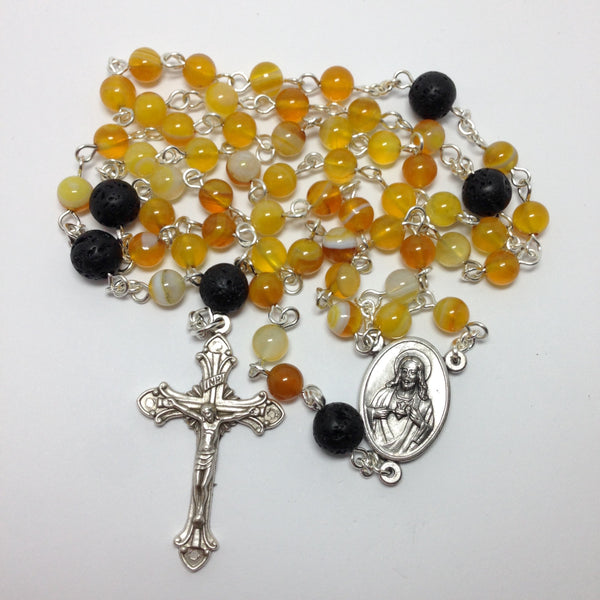 Aromatherapy Car Rosary with yellow agate beads