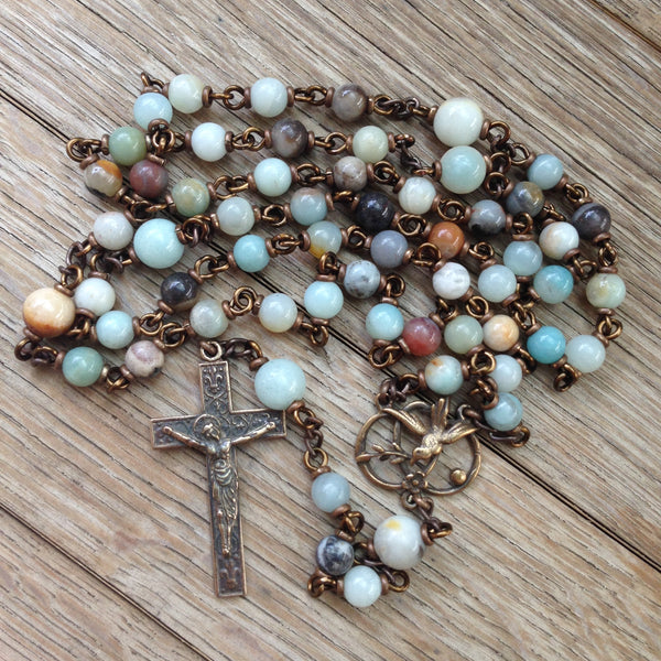 Bronze rosary with multi-coloured amazonite beads