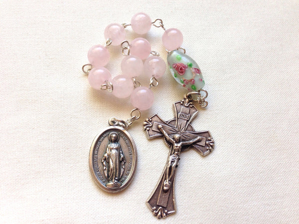 Miraculous medal pocket rosary with rose quartz beads