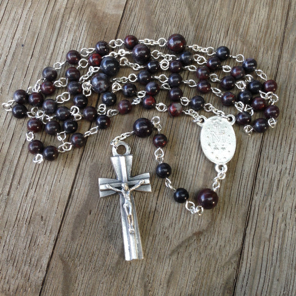 Miraculous Medal Rosary made with brown mustang jasper beads
