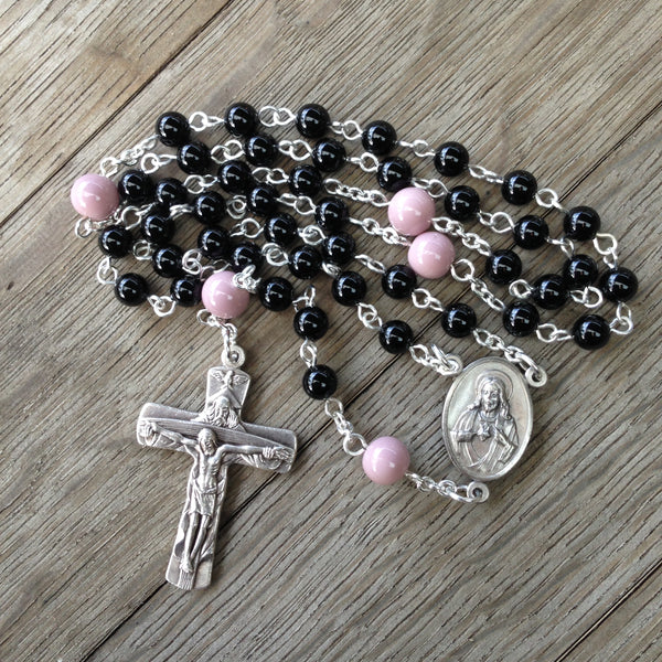 Beads of the Dead Chaplet made with Black Onyx and Purple glass beads