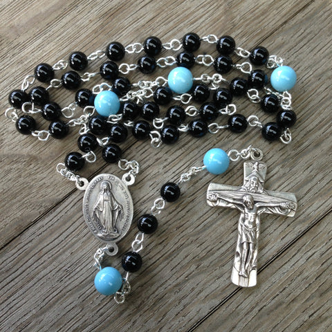 Beads of the Dead Chaplet made with Black Onyx and Blue Glass beads