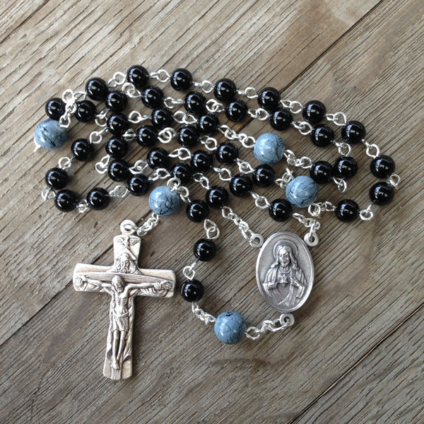 Beads of the Dead Chaplet made with Black Onyx and Grey Glass beads