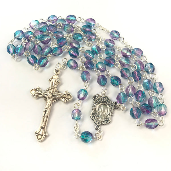 Madonna Rosary with blue/pink Czech glass beads