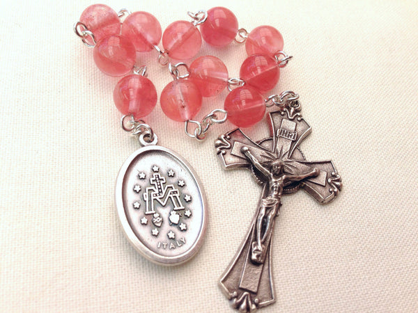 Miraculous Medal rosary with Cherry Quartz beads