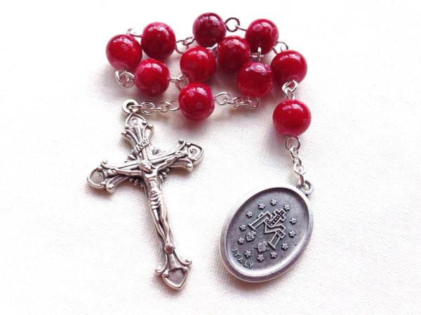 Red Catholic Pocket Rosary with Miraculous Medal
