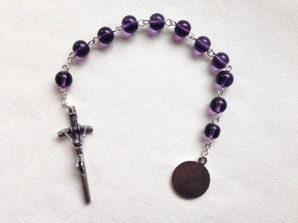 Holy Spirit Pocket Rosary made with amethyst glass beads