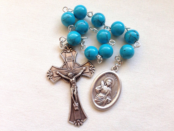 Blue St Lucy pocket rosary
