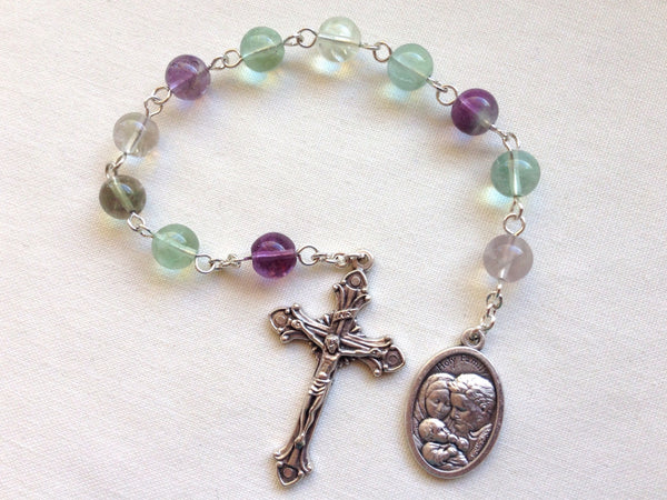 Holy Family pocket rosary made with rainbow flourite beads