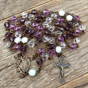 Purple Miraculous Medal Heirloom Rosary