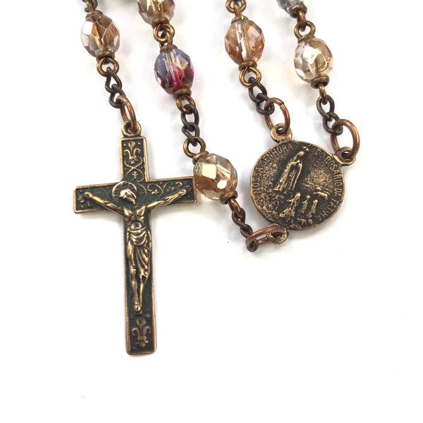 Our Lady of Fatima Heirloom Rosary - multicolored