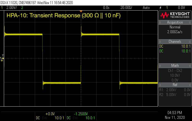 TCA HPA-10 Transient Response (300 ohm, 10 nF)