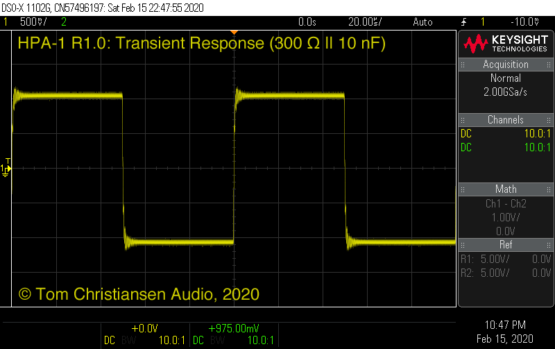 TCA HPA-1: Transient response (300 Ω || 10 nF)
