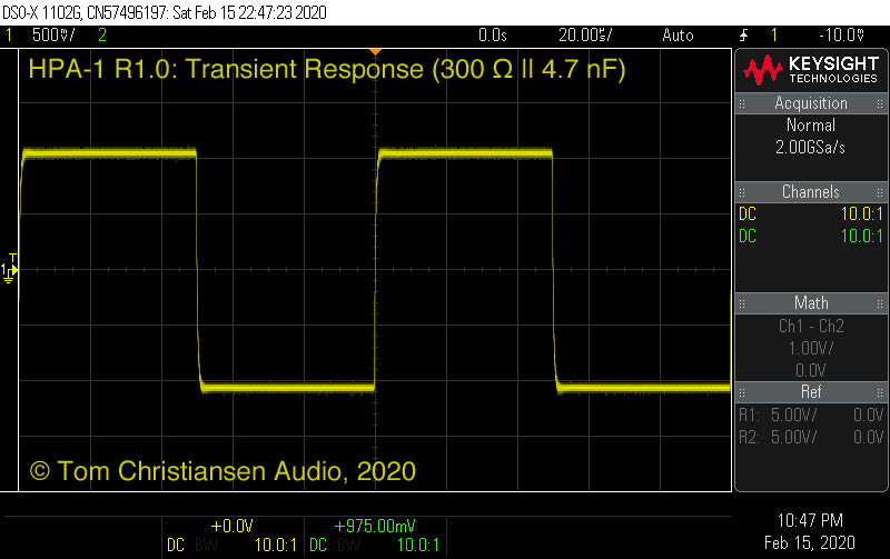 TCA HPA-1 transient response (300 Ω || 4.7 nF)