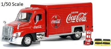 Coca Cola Coke Beverage Delivery Truck Replica with Handcart & 4 Bottle Cases
