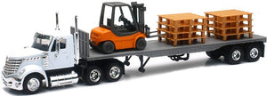 International Lonesstar Tractor with  Flatbed with Forklift and Pallet Load