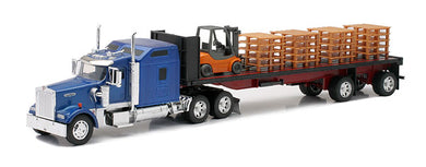 Kenworth W900 with a Flatbed Trailer with Forklift and Pallets