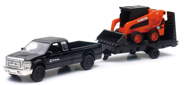 Kubota SSV65 Wheel Loader on Trailer with Ford Pickup Truck