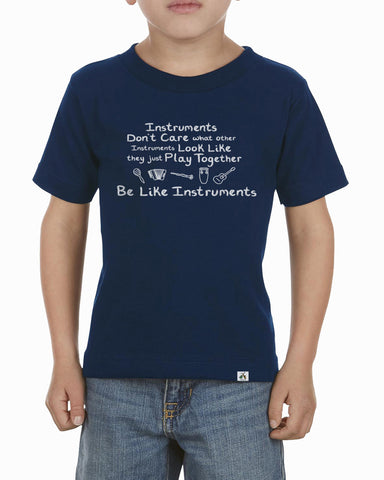 Navy blue toddler music instrument shirt