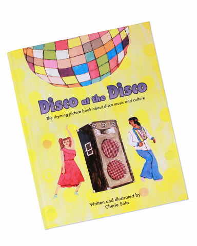 Disco book cover - disco ball with disco dancers and speaker