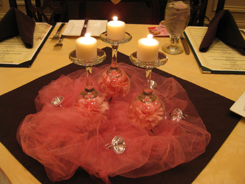 candle and tulle decortion