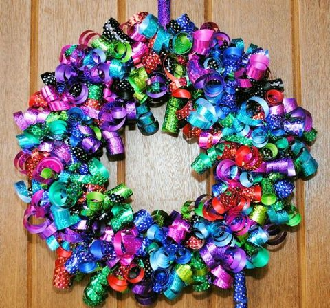 Colorful Wrapped Ribbons Wreath