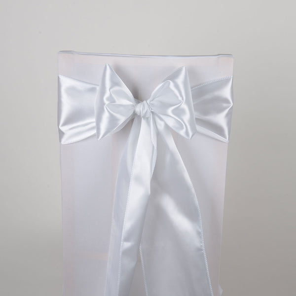 White - Satin Chair Sash - ( Pack of 10 Piece - 6 inches x 106 inches )