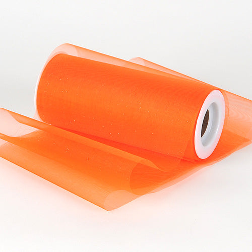 Orange - Organza Fabric 6 Inch - ( W: 6 Inch | L: 25 Yards )