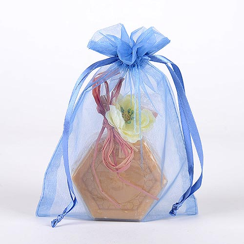Antique Blue  - Organza Bags - ( 4 x 5 Inch - 10 Bags )