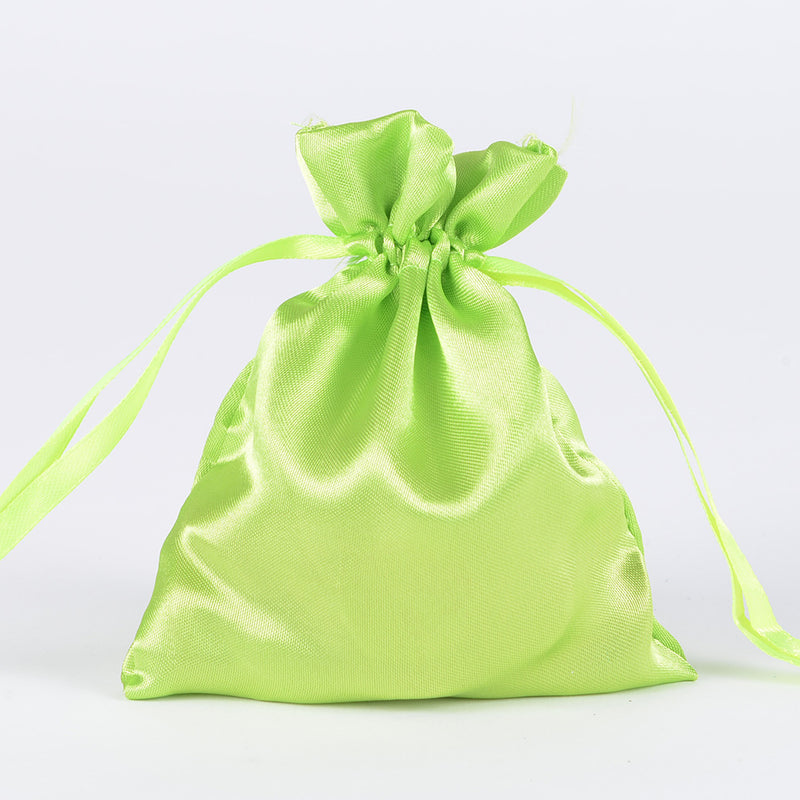 Apple Green  - Satin Bags - ( 3x4 Inch - 10 Bags )
