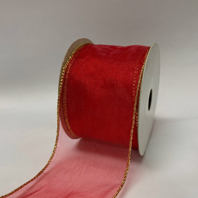 Red Gold Edge Christmas Ribbon  - (2.5 inch x 10 yards) - 93074012