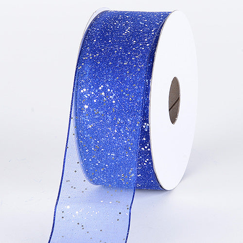 Royal - Organza Ribbon with Glitters Wired Edge - ( W: 5/8 inch | L: 25 Yards )