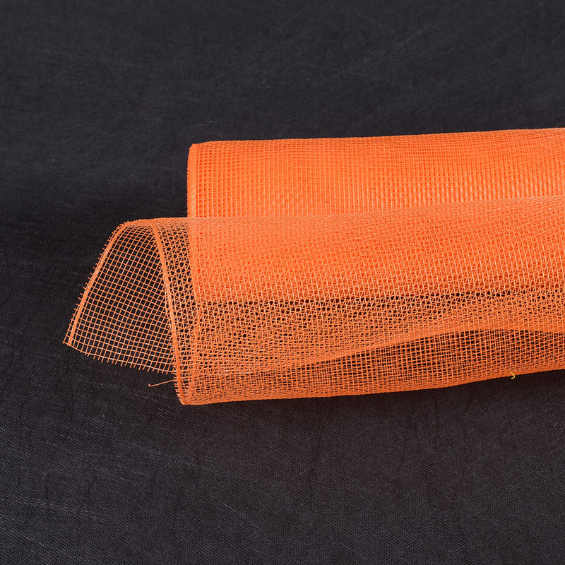 Orange  - Floral Mesh Wrap Solid Color -  ( 10 Inch x 10 Yards )