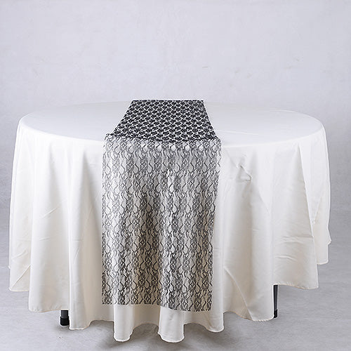 Black - Lace Table Runners - ( 14 inch x 108 inches )