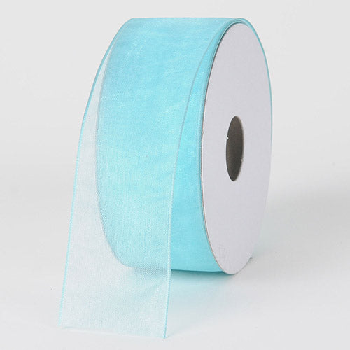 Aqua - Organza Ribbon Thin Wire Edge 25 Yards - ( W: 5/8 inch | L: 25 Yards )