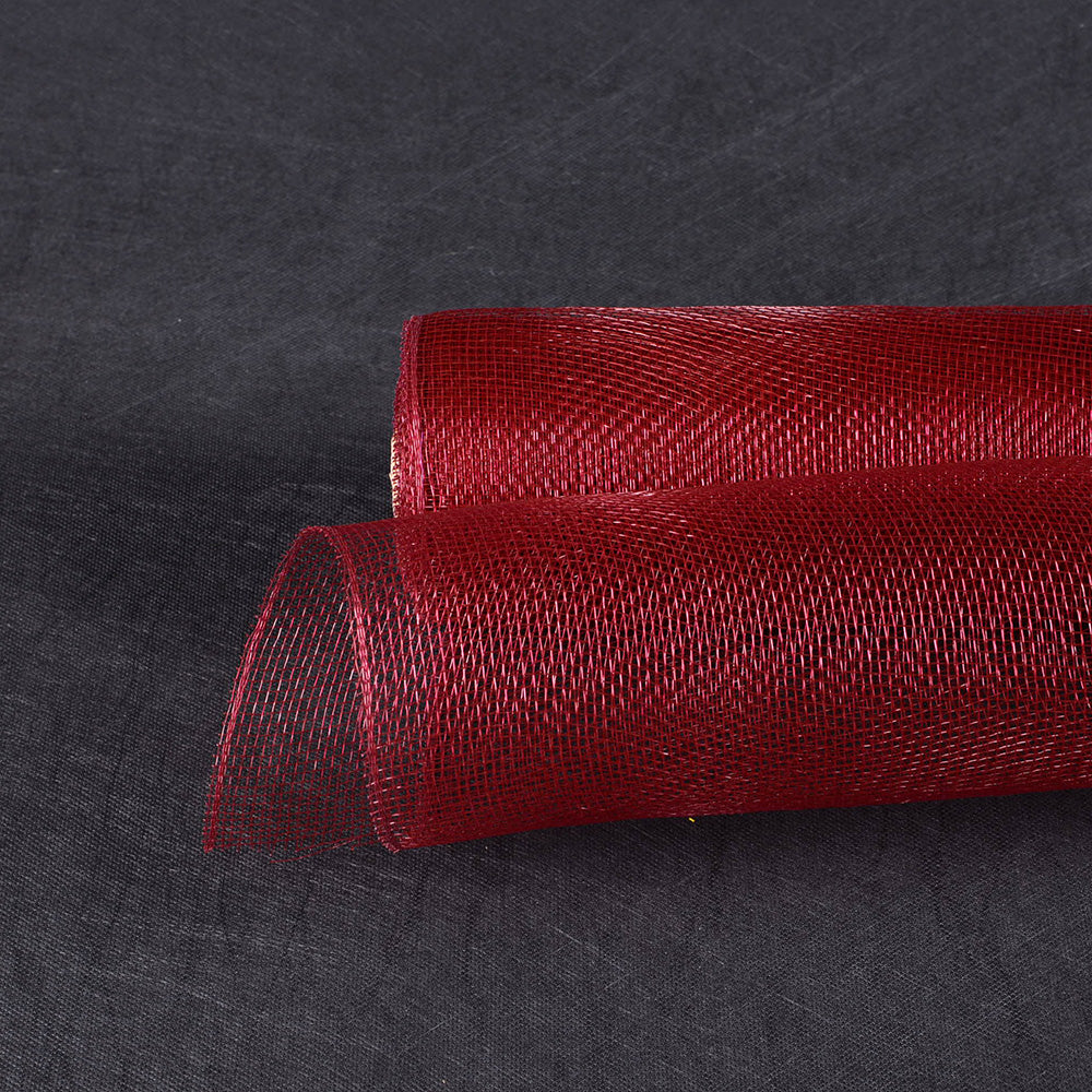 Burgundy  - Floral Mesh Wrap Solid Color -  ( 21 Inch x 10 Yards )