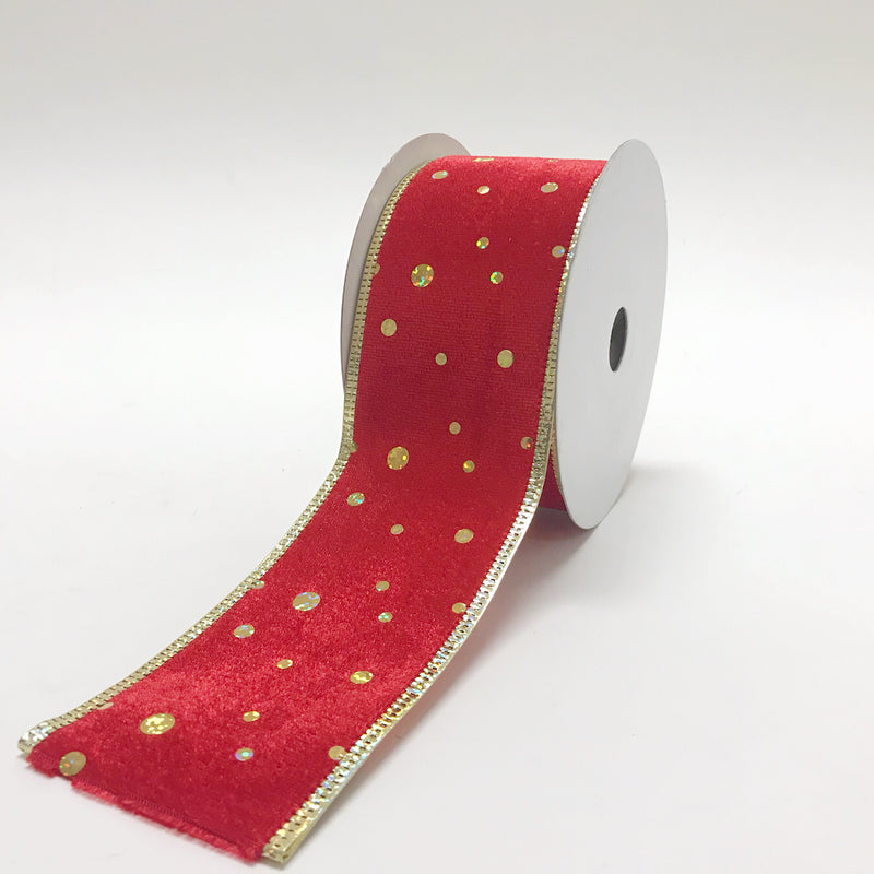 Christmas Ribbon Red Velvet Gold Dots ( 2-1/2 Inch x 10 Yards ) - 11054012