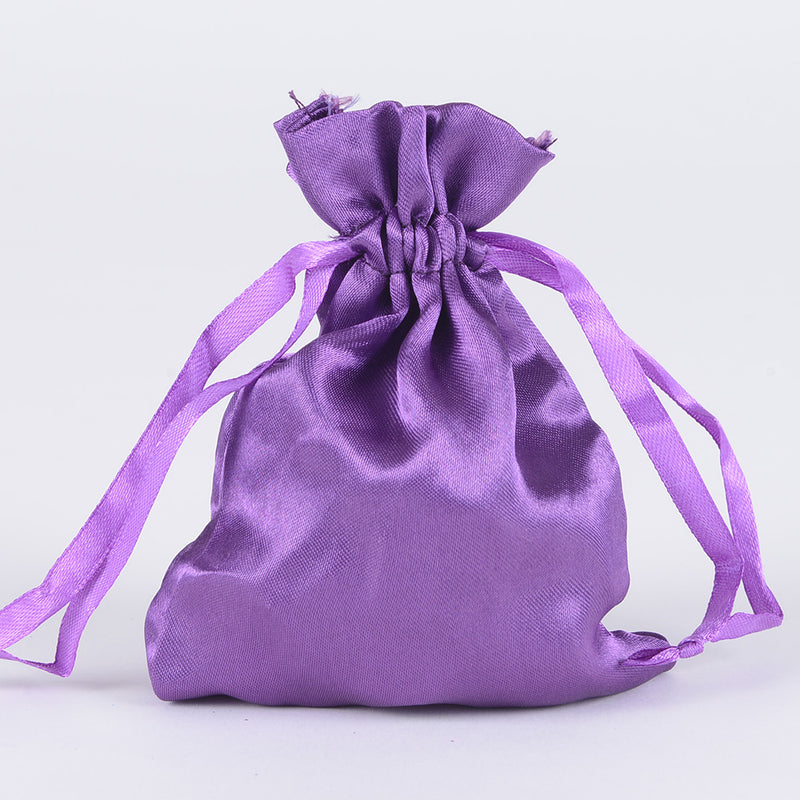 Purple - Satin Bags - ( 3x4 Inch - 10 Bags )