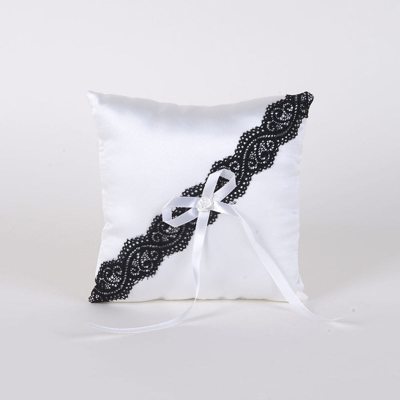 Ring Bearer Pillow White Black ( 7 x 7 inches )