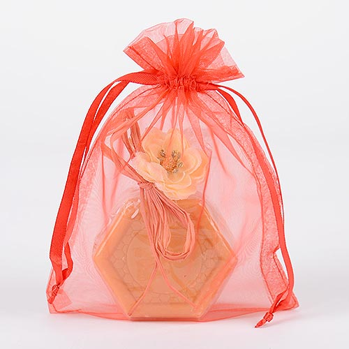 Red - Organza Bags - ( 6x15 Inch - 10 Bags )