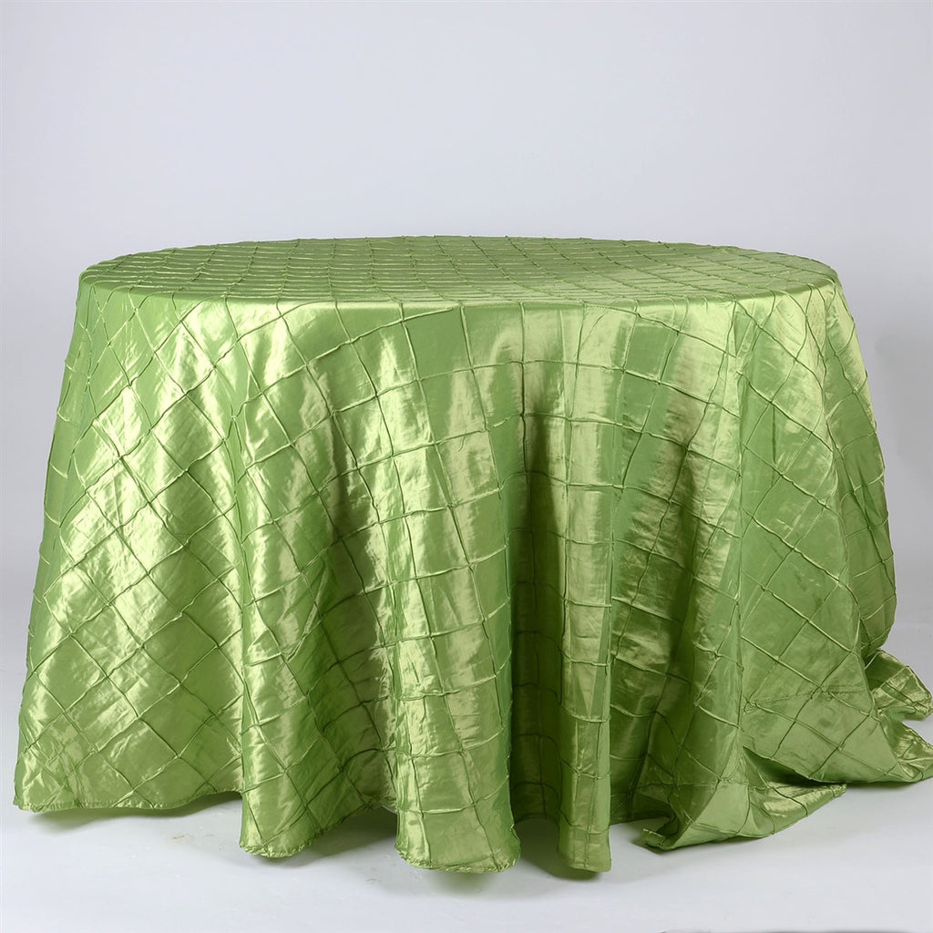Apple Green - 120 inch Round Pintuck Satin Tablecloth
