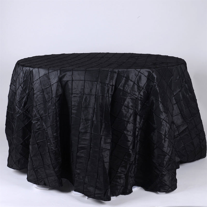 Black - 120 inch Round Pintuck Satin Tablecloth
