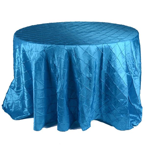 Turquoise - 120 inch Round Pintuck Satin Tablecloth