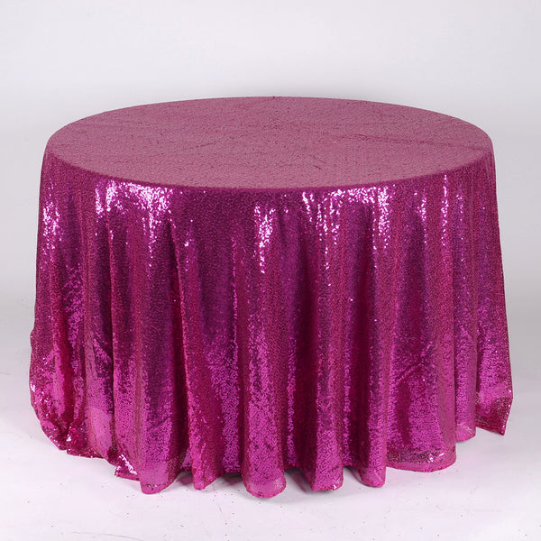Fuchsia 120 inch Round Duchess Sequin Tablecloth