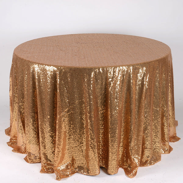 Gold 120 inch Round Duchess Sequin Tablecloth