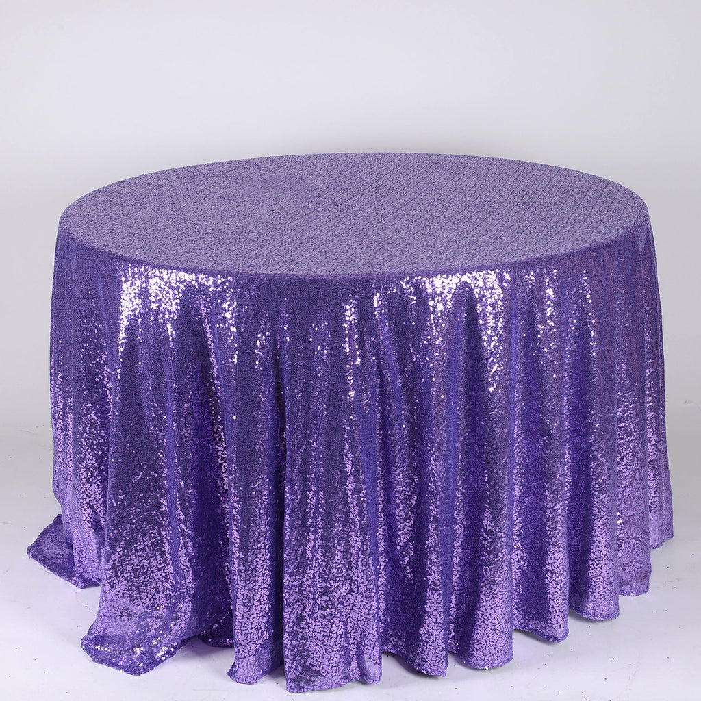 Purple 120 inch Round Duchess Sequin Tablecloth