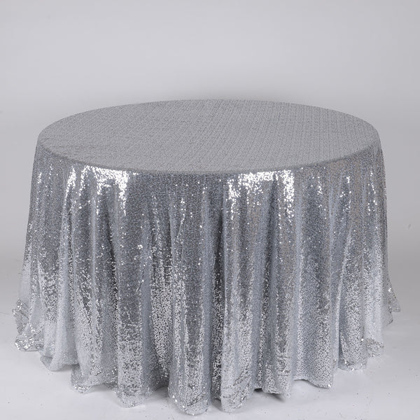 Silver 120 inch Round Duchess Sequin Tablecloth